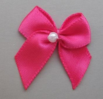 Schleifchen mit Perle rosa pink
