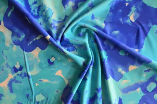 Badeware blau aqua weiß abstrakte Blumen