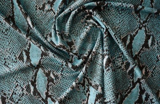 Badeware blau grün türkis weiß schwarz  Schlangenmuster