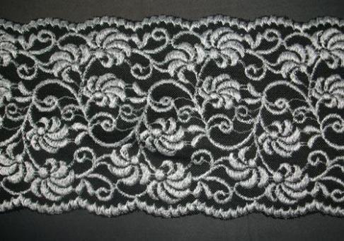 spitzenband schwarz silber 14cm meterware naehkurse schnittmuster spitzen stoffe. Black Bedroom Furniture Sets. Home Design Ideas