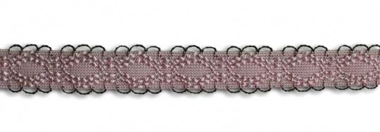 Trägerband rosa mit schwarzen Bögen 13-16mm