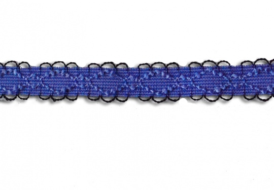 Trägerband blau mit schwarzen Bögen 10-13mm