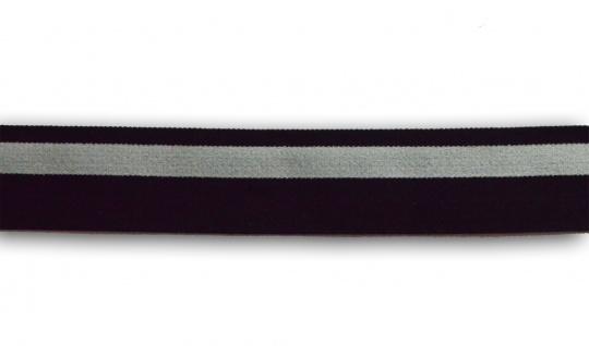 Bundgummi  grau  schwarz Streifen Hinterseite beschichtet 30 mm