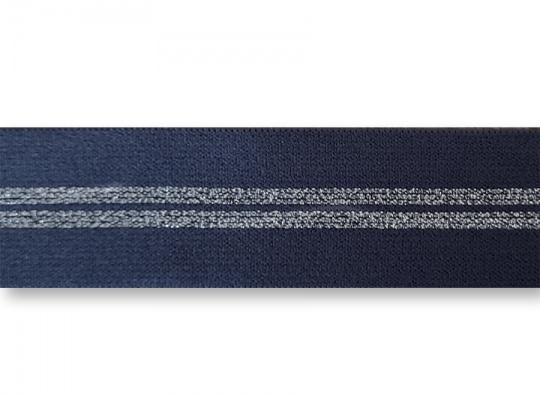 Bundgummi blau mit silber Glitzerstreifen   25mm