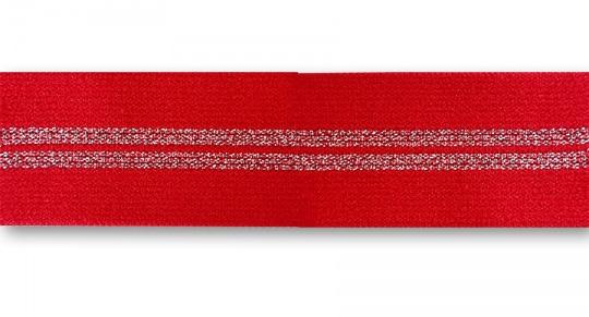 Bundgummi rot silber Glitzerstreifen   25mm