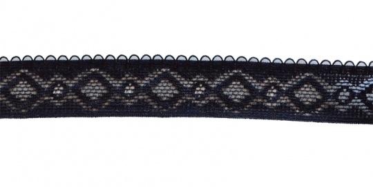 Zierband schwarz elastisch mit Schlaufenkante 20mm