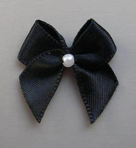 Schleifchen mit Perle schwarz