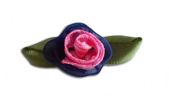 Schleifchen  Farbrichtung korallenrosa /marine/ weiß /grün Rose