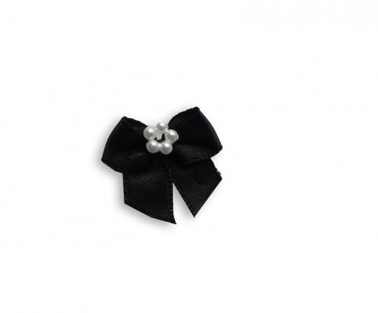 Schleife schwarz mit Perlen