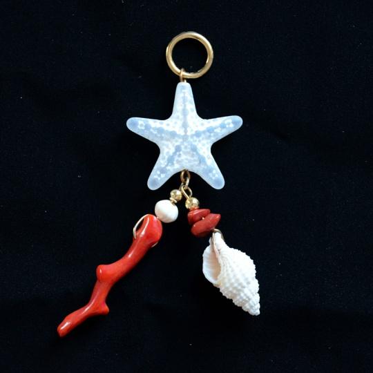 Badeaccessoire Seestern Muschel rot weiß