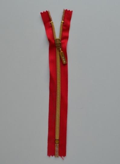 Badereißverschluss Farbrichtung satt rot gold 20cm