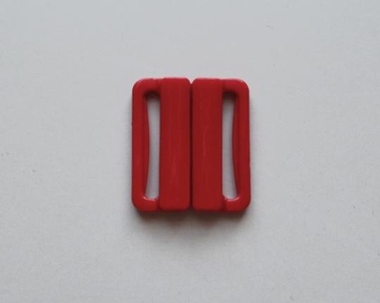Bikiniverschluss Kunststoff Farbrichtung  ruhig rot 25mm