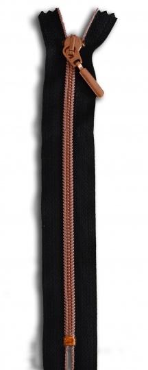 Badereißverschluss  kupfer schwarz 18cm