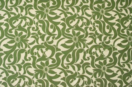 Mikrofaserdruck grün creme florales Muster