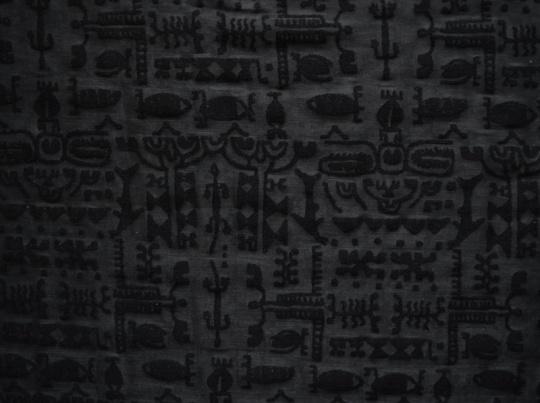 Ausbrennertüll elastisch schwarz Hieroglyphen