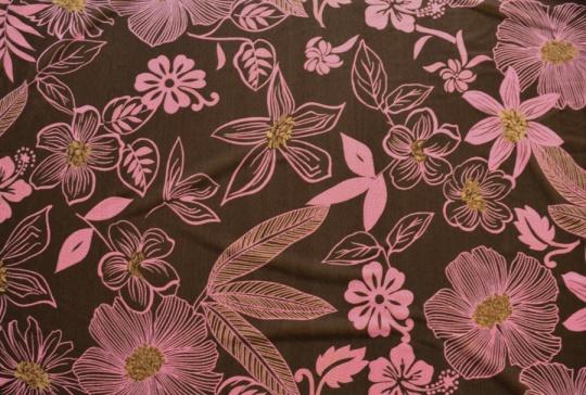 Belegtüll  Farbrichtung braun dunkel/  altrosa kräftig Blumen