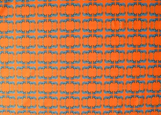 Mikrofaser Druck Zebras schwarz weiß kräftig orange
