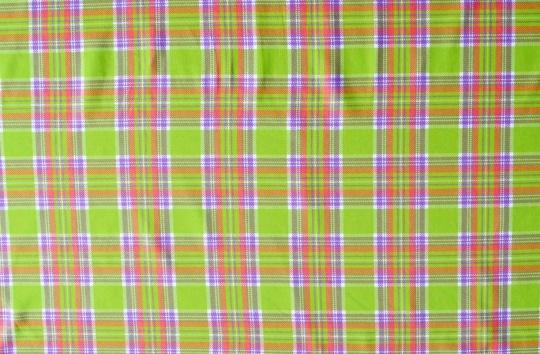 Mikrofaser Druck  leuchtend grün /lachsorange/rötlich lila/weiß Karo