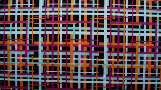 Mikrofaser Druck schwarz rosa orange weiß  Linien mit Ziffern & Buchstaben