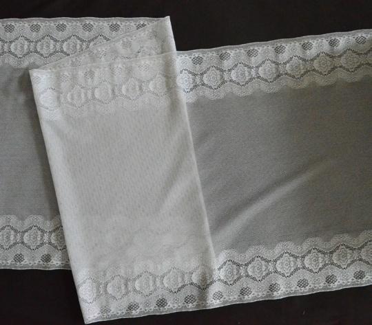 Mikrofaserband weiß Spitze 32 cm individuell abgeschnitten