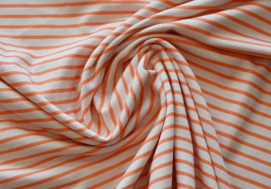 Baumwolle wollweiß orange Streifen