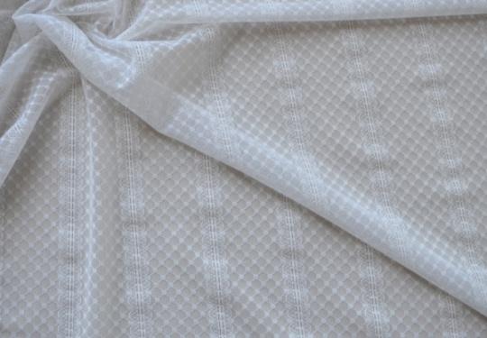 Strukturstoff  Tüll weiß Streifen, Punkte Meterware