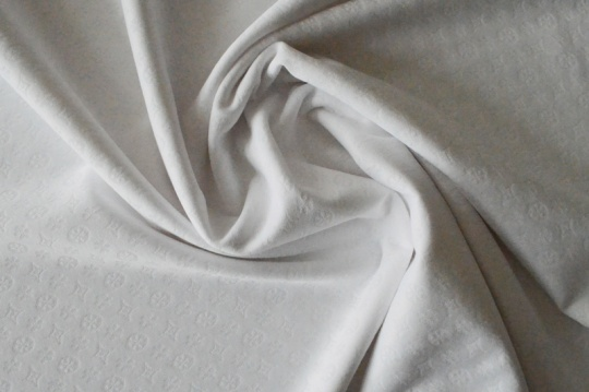 Strukturstoff Mikrofaser weiß Ornamental