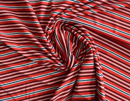 Strukturstoff Mikrofaser rot schwarz weiß Streifen