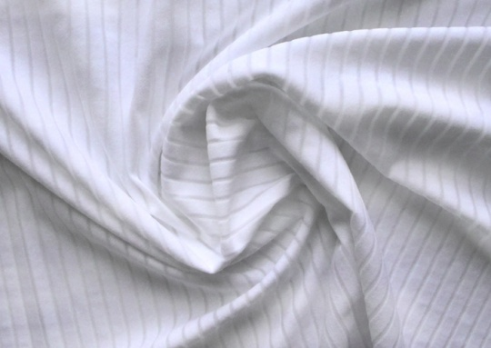 Strukturstoff Mikrofaser weiß Streifen durchbrochen