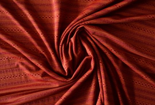 Strukturstoff Mikrofaser rot orange  Streifen Muster
