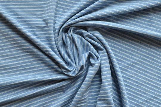 Strukturstoff blau melange creme Streifen