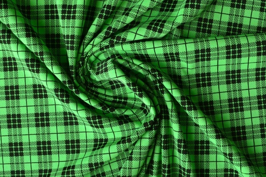 Strukturstoff  grün schwarz kariert Wäsche