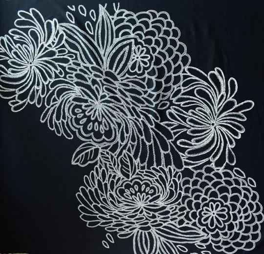 Badeware schwarz weiß Blumen erhabener Druck Rapport!!
