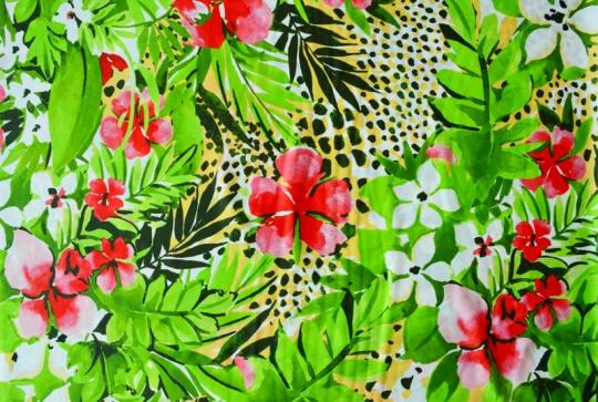 Badeware weiß grün gelb rot Blumen Farn