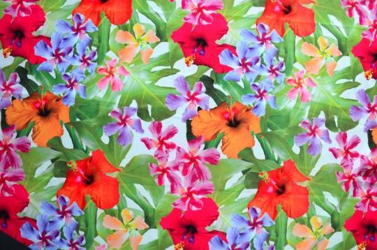 Badeware grün Blätter rot orange blau Blumen