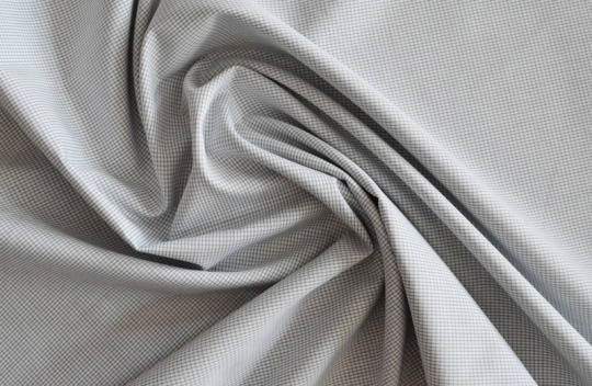 Baumwollstoff für Herrenshorts Karo grau weiß unelastisch