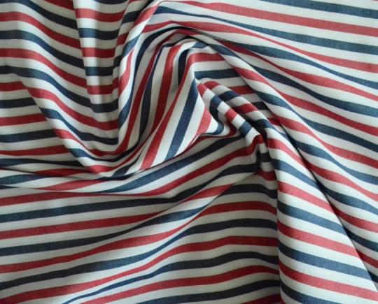 Baumwollstoff für Herrenshorts Streifen rot blau weiß unelastisch