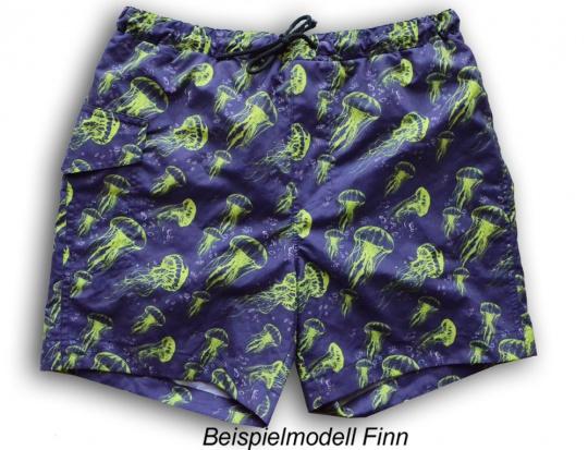 Webwaren Badestoff unelastisch blau mit grünen Quallen Nähpaket Badeshorts Finn