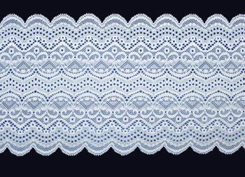 Spitzenband  weiß silber 17,5cm Meterware