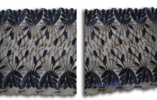 Stickereispitze unelastisch schwarz blau 22cm (rechts/links Spitze) eine Seite mit Randband individuell abgeschnitten