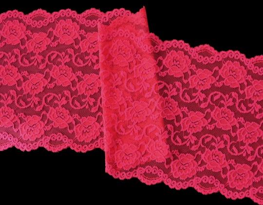 Spitzenband  pink neon 18,5cm Meterware