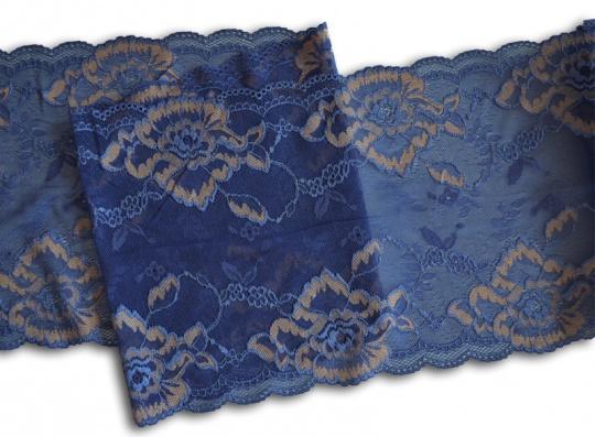 Spitzenband blau gold-haut 22 cm Meterware individuell abgeschnitten