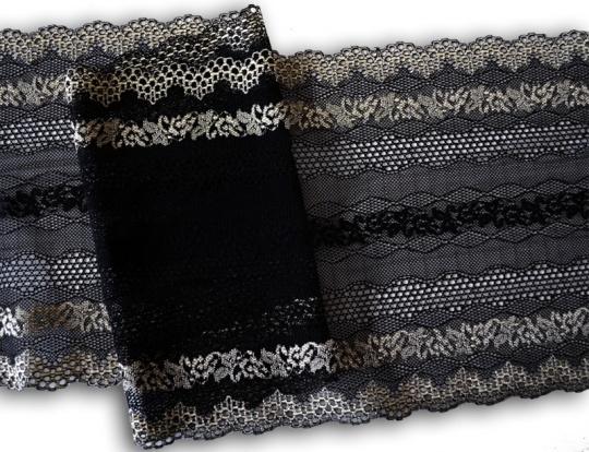 Spitzenband schwarz goldgelb 22 cm individuell abgeschnitten