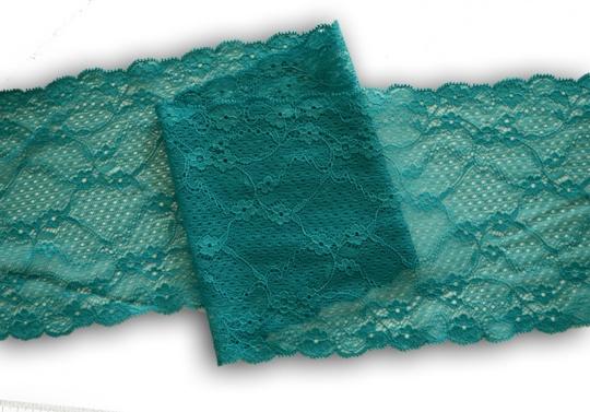Spitzenband grün türkis 16cm individuell abgeschnitten