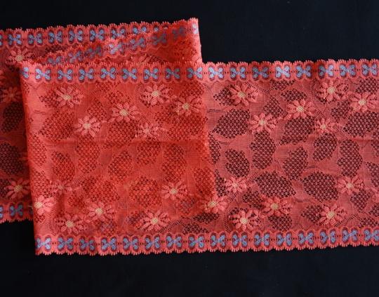 Spitzenband rot blau gelb  16cm individuell abgeschnitten
