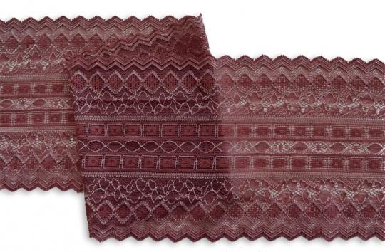 Spitzenband braun-rot creme 16,5 cm individuell abgeschnitten