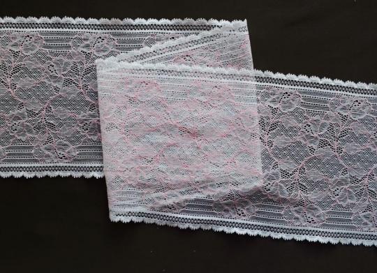 Spitzenband weiß rosa 16 cm