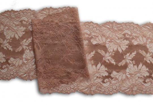 Spitzenband braun- haut bronze 23 cm individuell abgeschnitten