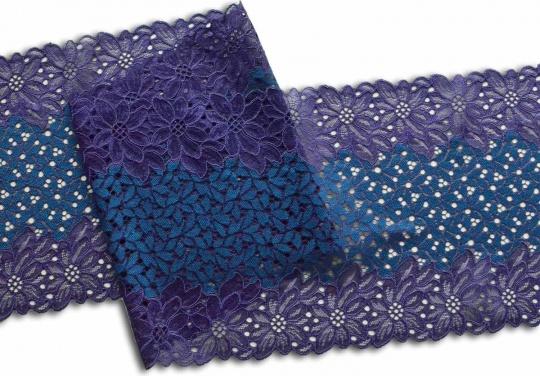 Spitzenband lila blau -türkis 21 cm individuell abgeschnitten