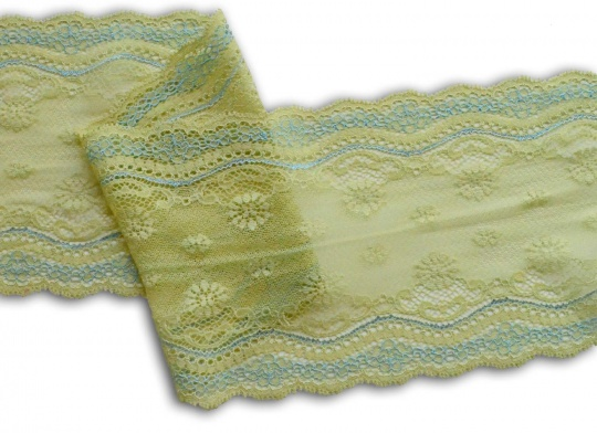 Spitzenband grün Limone /blau  16 cm
